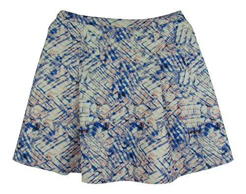 DKNYC Women's Printed Pleated Scuba Flare Skirt (4, Guava)