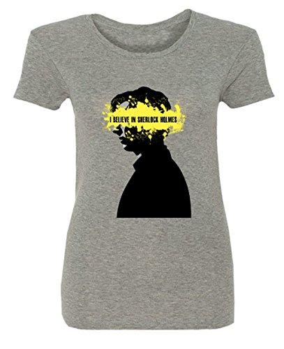 I Believe In Sherlock Holmes Yellow Had Damen T-shirt