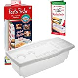 Microwave Pasta Cooker- Original Fasta Pasta w Spiral Cookbook- Quickly Cooks Up to 4 Servings- No Mess, Sticking or Waiting