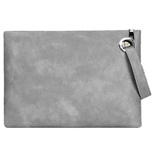Evening Bags Purse Envelop Clutch Chain Shoulder Womens Wristlet Handbag Foldover Pouch (gray)