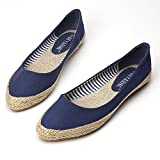 Easemax Women's Fashion Pointed Toe Low Cut Canvas Woven Flats Shoes Dark Blue 7.5 B(M) US