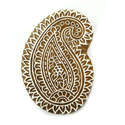 Wooden Paisley Decorative Block Hand Carved Printing Blocks Indian Stamp