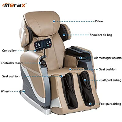 Merax Full Body Massage Recliner Chair 8-Massaging Programs Electric Leather Lounge Chair Massage Chair, Brown
