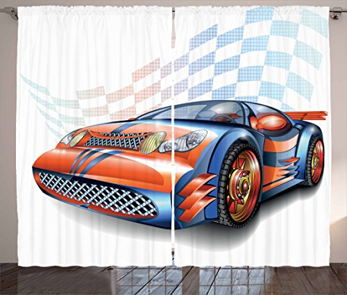 Ambesonne Cars Curtains, Cartoon Style Speeding Racing Car Event Championship Racetrack Victory Drive, Living Room Bedroom Window Drapes 2 Panel Set, 108 W X 63 L Inches, Orange Black