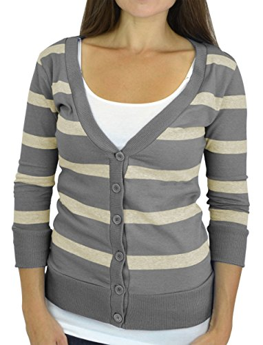 Belle Donne - Women / Girl Junior Size Soft 3/4 Sleeve V-Neck 6 Button Cardigans - Heather Gray/Small