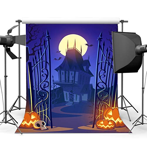 (SZZWY Halloween Horror Night Backdrop 3X5FT Vinyl Haunted Castle All Saints' Day Backdrops Scary Pumpkin Lamps Photography Background for Kids Baby Hallowmas Masquerade Photo Studio Props)
