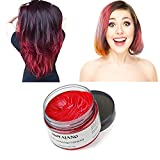 MOFAJANG Red Hair Color Wax, Natural Hairstyle Wax 4.23 oz, Temporary Hairstyle Cream for Party, Cosplay, Halloween, Daily use, Date, Clubbing (Red)