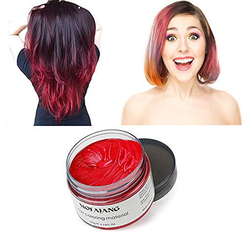 MOFAJANG Red Hair Color Wax, Natural Hairstyle Wax 4.23 oz, Temporary Hairstyle Cream for Party, Cosplay, Halloween, Daily use, Date, Clubbing (Red) by SWAKER