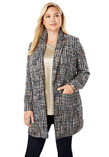 Jessica London Women's Plus Size Metallic Tweed Topper - Multi Tweed, 18 W