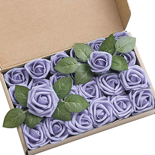 Ling's moment Artificial Flowers Lavender Rose Buds and Small Roses w/Stem for DIY Wedding Bouquets Centerpieces Arrangements Party Baby Shower Home Decorations (Rose Lavender Bouquet)
