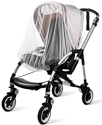 (KIDLUF Mosquito and Bug Net for Baby Strollers, Bassinets, Cradles and Car Seats - Insect Net Safe Mesh White Buggy Cover for Pushchairs, Prams, and Carrycots)