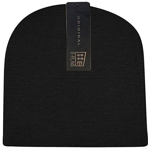 Black Basic Knit Beanie - Women / Men Basic Solid Color Warm Knit Ski Snowboarding Beanie Hat (BLACK)