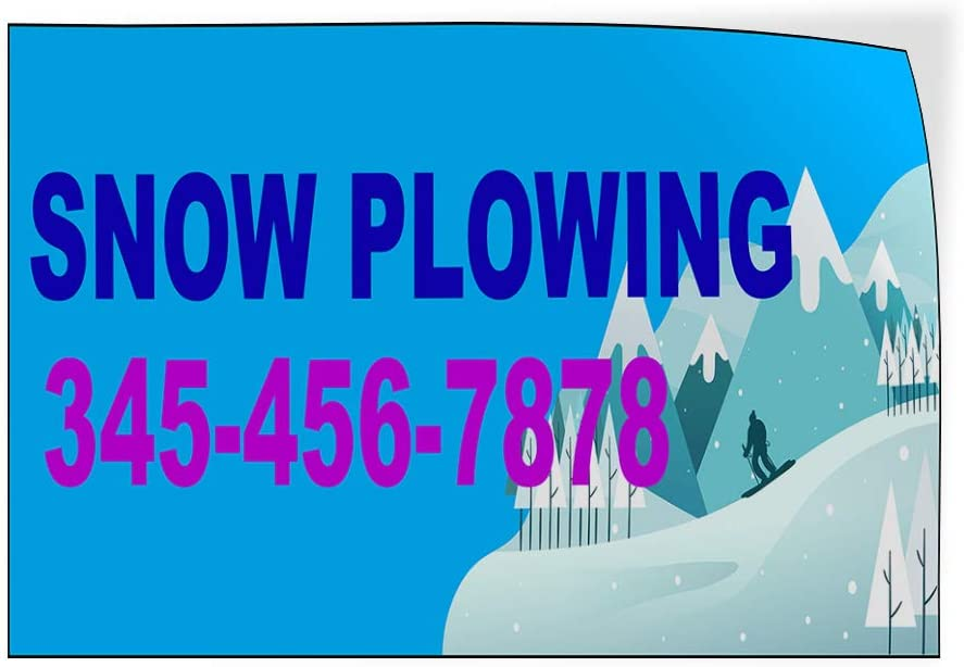 Custom Door Decals Vinyl Stickers Multiple Sizes Snow Plowing Phone Number Blue Business Snow Plowing Outdoor Luggage /& Bumper Stickers for Cars Blue 72X48Inches Set of 2