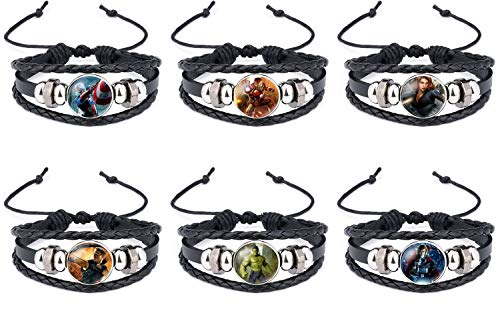 Brec Marvel Bracelets The Avengers Leather Cuff Bracelet Captain America Black Widow Iron Man Wristband Raytheon 6Sets -