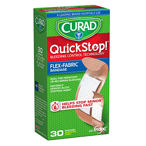 Curad Quickstop Instant Clotting Technology Flex-Fabric Bandages, Assorted Size, 30 Count