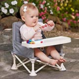 hiccapop Omniboost Travel Booster Seat with Tray for Baby | Folding Portable High Chair for Eating, Camping, Beach, Lawn, Grandma's | Tip-Free Design Straps to Kitchen Chairs Or Pop and Sit Anywhere Image