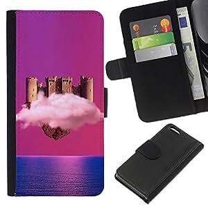 YiPhone /// Tirón de la caja Cartera de cuero con ranuras para tarjetas - Castillo de nubes - Apple Iphone 5C