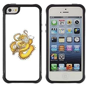 Suave TPU GEL Carcasa Funda Silicona Blando Estuche Caso de protección (para) Apple Iphone 5 / 5S / CECELL Phone case / / Golden Yellow Dragon Serpent Long Tail /
