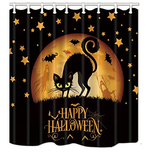 Y&M HOME Happy Halloween Shower Curtains, Cary Cat in Gothic Forest at Night with Bat Flying, Mildew Resistant Polyester Fabric Waterproof Bathroom Curtains, Shower Curtain Hooks Included, 70X70in -