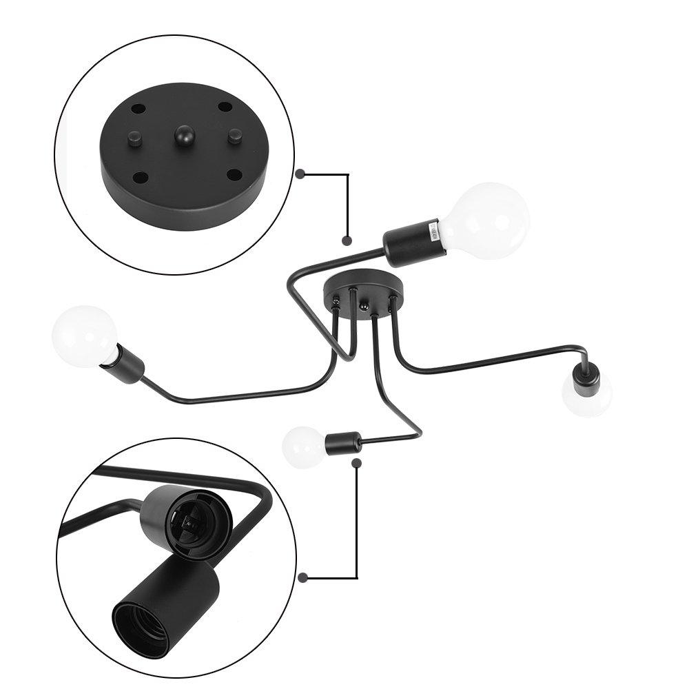 Lingkai Ceiling Light Fixture Metal Art Semi Flush Mount Ceiling Pendant Light Retro 4-Light Sputnik Chandelier by Lingkai (Image #3)