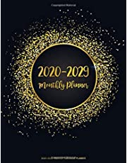 2020-2029 Monthly Calendar Planner: 10 Years January 2020 to December 2029 Monthly Calendar Planner For Academic Agenda Schedule Organizer Logbook and To Do List Journal Notebook | Black Gold Design