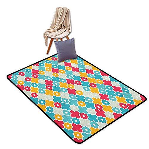 (Non-Slip Carpet Quatrefoil Kids Colorful Petal Clover Leaves Pattern Bohemian Casual Kids Theme Outside The Door Rug W5'xL8')