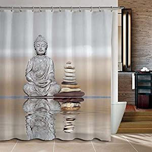 Superior Eovsea Buddha Stone Bathroom Fabric Waterproof Water Repellent Shower  Curtains Home With 12 Hooks