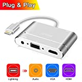 Lightning To HDMI/VGA /Audio Adapter Converter Cable with Micro USB Charging Cable + 3.5mm Audio Port for iPhone 5/6/6S/7Plus/iPad/iPod (Lightning port must be connected)