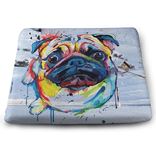Eplus Bulldog Oil Painting Memory Foam Seat Cushion Chair Pad Removable Non-Slip Breathable Cover, 13.7