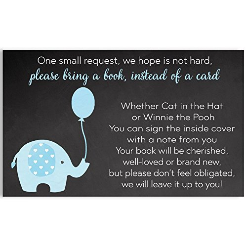 Chalkboard Elephant Bring A Book Cards, Baby Shower, Blue, Aqua, Boy Baby Shower, Chalkboard, Blackboard, Rustic, Balloon, Baby Library, Baby Book, Baby Sprinkle, 24 Pack Printed Book Inserts