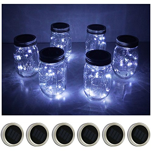 6 Pack Mason Jar Lights 10 LED Solar Cold White Fairy String Lights Lids Insert for Patio Yard Garden Party Wedding Christmas Decorative Lighting Fit for Regular Mouth Jars (Cold White)