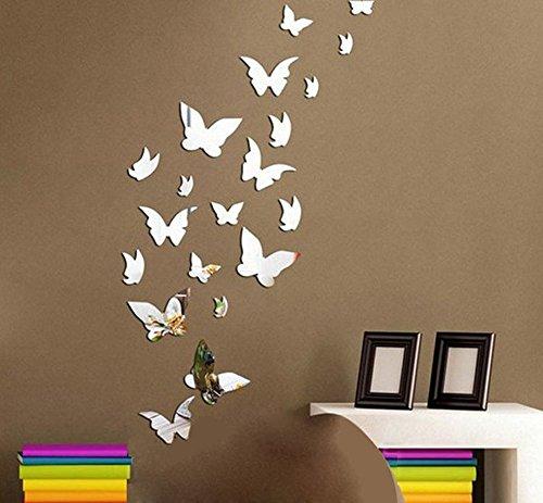 ufengke home 20 Piezas Pegatinas de Pared de 3D Mariposas Espejo Plata Adhesivo de Pared de DIY Moda Adhesivos de Pared Sala...