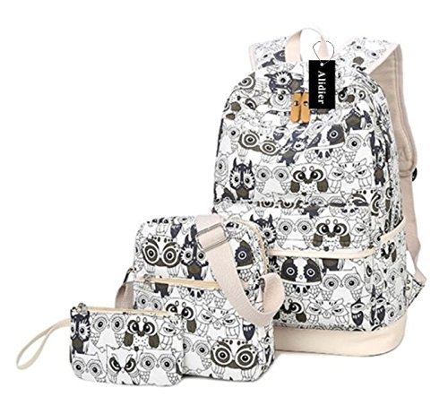 734167c4ab89 Alidier New Brand and High Quality 2016 New College School Laptop Backpack  -Straps Reinforced Black White  Amazon.co.uk  Shoes   Bags