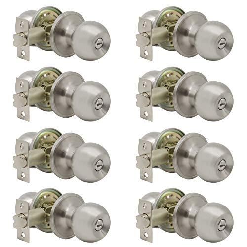 8 Pack Interior Round Privacy Door Knobs Door Lock Keyless Lockset Doorknobs for Bed and Bath in Satin Nickel Adjustable Latch Backset by Probrico-Door Knob 607