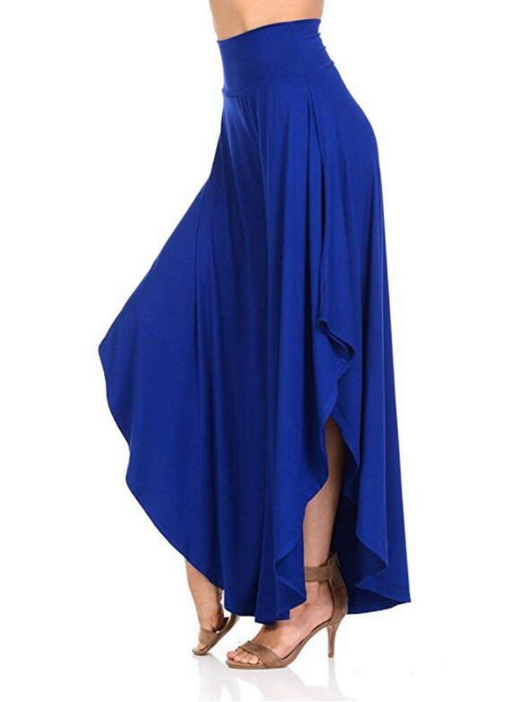 Women's Comfy High Waist Loose Skirt Casual Dress Flowy Layered Cropped Capris Wide Leg Palazzo Trousers Royal Blue,XL UPS Post