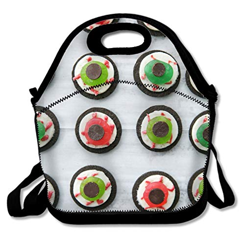IMISS Halloween Eyeball Dessert Picnic Storage Bag Lunch Box Food Bag Cooler Warm Pouch Tote Bag for School Work Offic