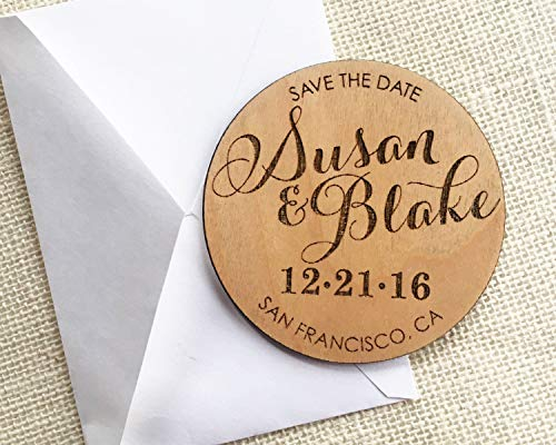 MarthaFox Wood Save The Date Magnet Personalized Wedding Magnet Calligraphy Save The Date Rustic Wooden Magnet Custom Wedding Save The Date -