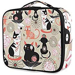ATONO Floral Graphic With Cats Portable Makeup Bags Professional Cosmetic Toiletry Travel Box Organizer Compartments Case Multifunction Storage Waterproof Adjustable Dividers for Girls&Women