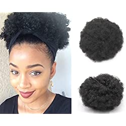 VGTE Beauty Synthetic Curly Hair Ponytail African American Short Afro Kinky Curly Wrap Synthetic Drawstring Puff Ponytail Hair Extensions Wig with Clips(#1B)