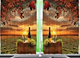 grape decorations set - Ambesonne Tuscany Land Of Wine Decor Collection, Grape Field Wine Bottle Glasses Sunset View, Window Treatments for Kitchen Dining Room Curtains 2 Panels Set, 55 X 39 Inches, Brown Green Orange