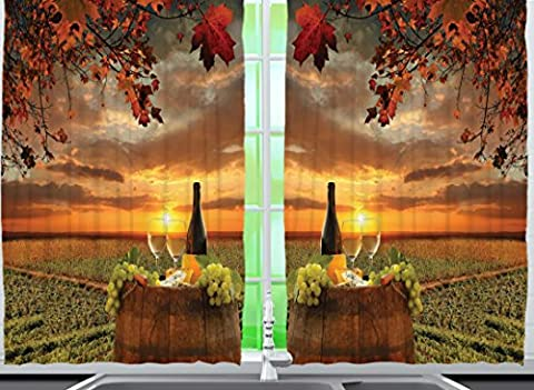 Ambesonne Tuscany Land Of Wine Decor Collection, Grape Field Wine Bottle Glasses Sunset View, Window Treatments for Kitchen Dining Room Curtains 2 Panels Set, 55 X 39 Inches, Brown Green Orange