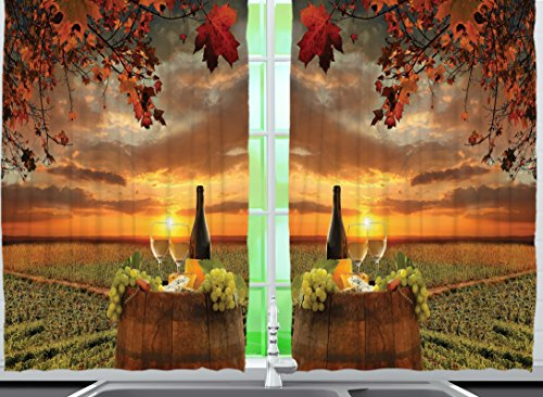 Ambesonne Tuscany Land Of Wine Decor Collection, Grape Field Wine Bottle Glasses Sunset View, Window Treatments