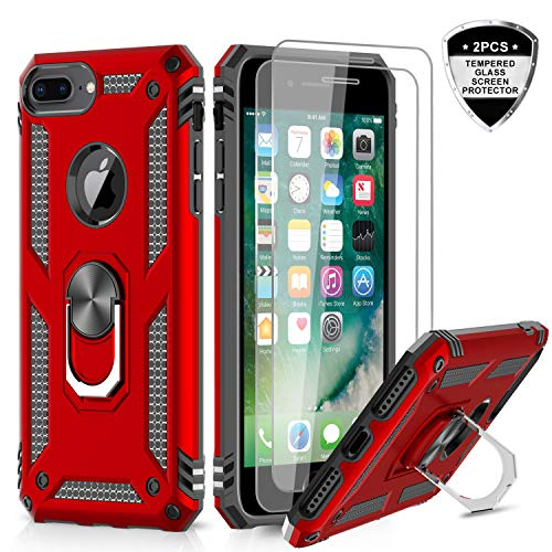 LeYi iPhone 8 Plus Case, iPhone 7 Plus Case, iPhone 6 Plus Case with Tempered Glass Screen Protector [2Pack], Military Grade Phone Case with Rotating Holder Kickstand for Apple iPhone 6s Plus, Red
