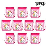 PartyYeah 10-Pack Rainbow Unicorn Drawstring Bags Bulk With Rainbows Stars For Kids Boys Girls Birthday Party Supplies Favor Candy Chocolate Package Bags
