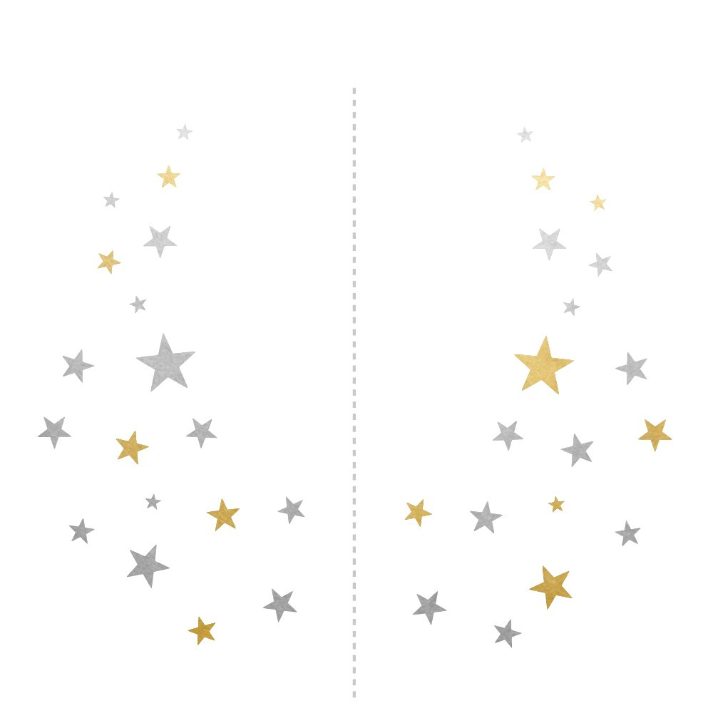 STARRY EYE JEWEL set of 25 premium waterproof temporary metallic gold and silver jewelry foil festival Flash Tattoos, metallic tattoo, gold and silver tattoo, star tattoo