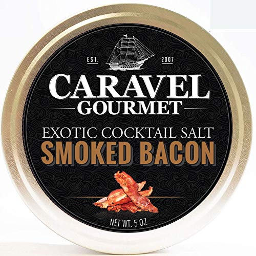 Finishing Sea Salt Collection - Smoked Bacon Exotic Cocktail Salt - All-Natural Glass Rimmer & Finishing Sea Salt, Slowly Smoked & Infused with Bacon - No MSG, Non-GMO, Gluten-Free - 5 oz. Stackable Tin