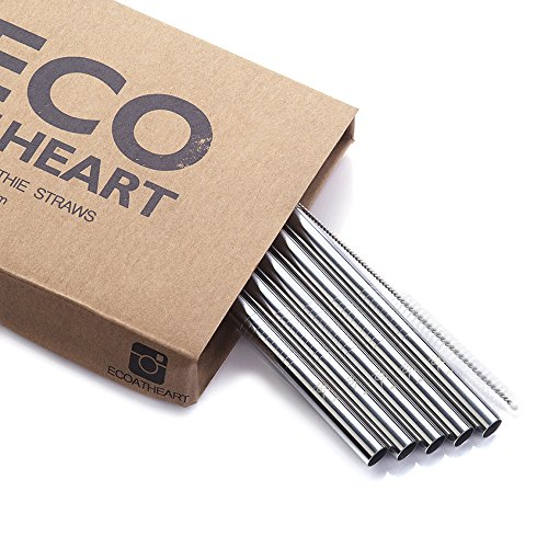 Drinking Straws Suppliers - Eco at Heart Reusable Straws - Set of 5 EXTRA WIDE Stainless Steel Metal Drinking Straws 8.5in Length for SMOOTHIES & Thick Drinks. Straight Straw Cleaning Brush Included