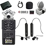 Movo Zoom H6 Six-Track Portable Handy Recorder Bundle Omnidirectional and Cardioid XLR Lavalier Microphones
