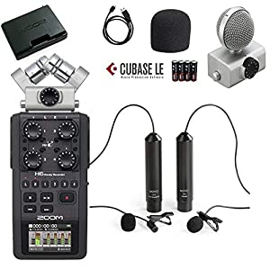 Zoom H6 Six-Track Portable Handy Recorder Bundle with Movo Remote Control, Omnidirectional, and Cardioid XLR Lavalier…