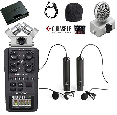 Recorder Package - Zoom H6 Six-Track Portable Handy Recorder Bundle with Movo Omnidirectional and Cardioid XLR Lavalier Microphones